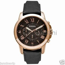 Fossil Original FS5085 Men's Grant Black Leather Watch 44mm