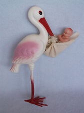 """Large Maternity 9"""" Vintage Irwin Plastic Celluloid Toy Stork Baby Doll in Diaper"""