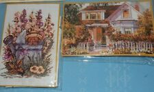 Lot of 2 Flower Garden Cross Stitch Kits Age 7 and up