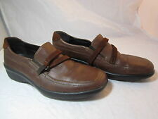 """Womens Stonefly Brown Leather Loafers Shoes Size 8-8.5M 39 EU 1 1/2"""" Heels"""