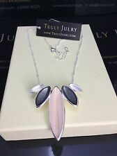 Contemporary Designer Statement Silver Necklace With Leaf Pendants Gift Packaged