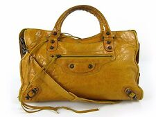 Authentic BALENCIAGA The City 115748 2Way Hand Bag Shoulder Leather Orange 35071