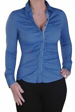 Womens Office Work Skinny Fit Stretch Collared Ruched Full Sleeve Shirt Top