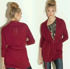 NWT GUESS Phoebes burgandy sweater knit Cardigan with belt size XS