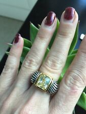 """NEW """"designer inspired"""" Light Yellow CZ Ring with Cable Detail size 8 Gorgeous"""