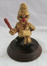 PEWTER GOLD METAL CLOWN ON WOOD POLICEMAN PAINTED ACCENTS ORIGINAL LABEL