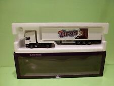 LION CAR SCANIA TRUCK + TRAILER - BROS NESTLE - WHITE 1:50 - GOOD IN BOX