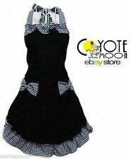 RETRO VINTAGE 50s STYLE GINGHAM FULL APRON / PINNY BLACK & WHITE POLKA DOT 2 BOW