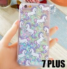 For iPhone 7+ Plus - HARD CASE Flowing Waterfall UNICORN Liquid Glitter Hearts