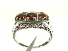 .50ctw Natural Round Cut Garnet Victorian Deco Sterling Filigree Ring s7