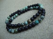 Men's Matte Black Onyx & African Turquoise 6mm Beaded stretch Bracelet Set of 2