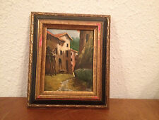Vtg Antique Oil on Board Painting Signed Arnau of Building Village Street Scene