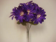 PURPLE Dahlia Satin Bush 9 Artificial Flowers Bouquet 9004PU