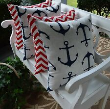 4 Pack Nautical Blue Red Chevron Decorative Toss Pillows  Indoor Outdoor