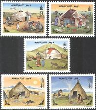 Mongolia 1999 Gers/Native carpas/Moto/Perros/transporte/radio 5v Set (n17552)
