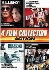 Action Quad (Killshot, Lucky # Slevin, Unknown, The Tournament), Very Good DVD,