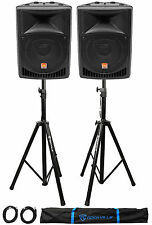 "Pair Rockville Power Gig RPG8 8"" Powered Active 800 Watt 2-Way DJ PA Speakers"