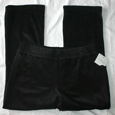 Croft Barrow Velour Pants Large Petites LP Black Pull On New NWT Active Wear
