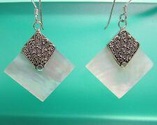 "1"" Diamond Shape MOP Shell 925 Sterling Silver Handmade Dangle Earring"