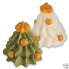 6 3D WHITE & GREEN ICED SUGAR CHRISTMAS TREE EDIBLE CAKE DECORATIONS