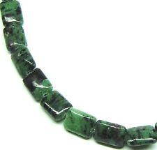 """15.5"""" NATURAL Ruby in Zoisite Flat Rectangle 28/29 Beads 10x14mm"""