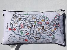 NEW Storehouse White US United States Map Embroidered Pillow Feather 24 x 14""