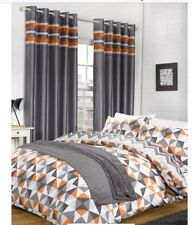 MODERN GREY ORANGE GEOMETRIC ABSTRACT DOUBLE DUVET COVER CHEVRON REVERSIBLE