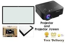 "NEW Full Color 130"" Portable Home Cinema LED Pico Projector AND Projector Screen"