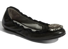 NEW VERA WANG LAVENDER Latisha Ballerina Flat Size 6.5 Black Nappa/Crystal Shoes