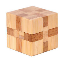 Magic Cube Interlock Bamboo 3D Wooden Construction Puzzle Wood Brain Teaser