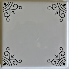 BLACK AND WHITE TILES KITCHEN BACKSPLASH TILE DELFT STYLE TILE BORDER GOTH DECOR