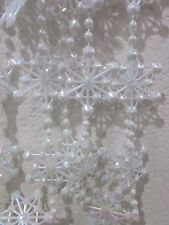 NEW White iridescent Star Garland Christmas Tree Holiday Decor Plastic 9 FT
