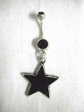 NEW CAST PEWTER DARK STAR - BLACK STAR on 14g DOUBLE BLACK CZ BELLY BUTTON RING