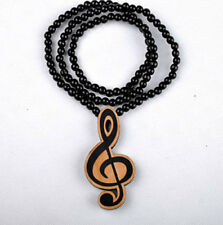 Music Note Hip-Hop Theme Wood  Necklaces Pendant Beads Chain Necklaces Gift