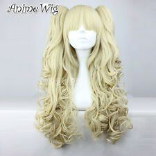 Light Blonde Lolita Lovely Lady Anime Cosplay Long Curly Wig With Two Ponytails