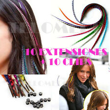 10 mechones extensiones + 10 clips - Pelo artificial de colores hair extension