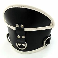 Leather BLACK WITH RED LINING, POSTURE COLLAR , Unisex Adjustable UK!