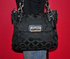 "COACH ""KRISTIN"" Large Black Signature Jacquard Leather Hobo Bag Purse 18271"
