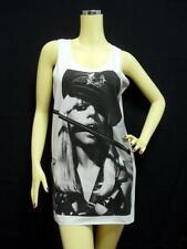 LADY GAGA Tank Top, Monster DIVA Dance POP, White SINGLET Mini Dress T-shirt NEW