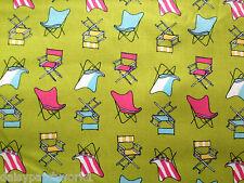Chaises de pont tissu de coton mètre cher Stella jardin sling back green summer 1m