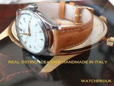 REAL OSTRICH LEATHER STRAP FOR  ROLEX TUDOR VINTAGE  HANDMADE IN ITALY 17MM