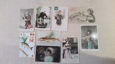 Lot 9 CPA thèmes poisson d'avril, fantaisie, collage, années 1900. A563 à A571