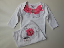 Baby girl white layette gown w rosettes + rhinestone heart size 000 Fits 3 mths