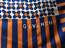 "Vintage Silk Long 48""x15"" GIVENCHY SCARF SHAWL thick orange blue white"