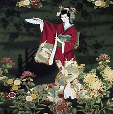 Japanese Cotton Fabric Kona Bay Panel Dancing Geisha Lady Flower Blossom Fans