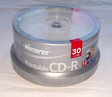 NEW Memorex 52X Printable 700MB CD-R Recordable 30 Pack 80 Minute CDs SEALED