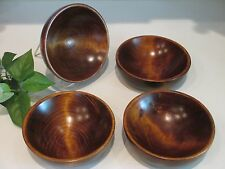 Set of 4  Vintage Weston Bowl Mill Vermont Wooden Salad Bowl Signed