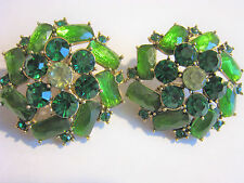 Monet Green Clip Earrings