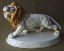 "VINTAGE DECORATIVE CERAMIC ATLANTIC MOLD LION STATUE  10"" L"