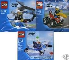 3x Lego City Promos 30010 Feuerwehr 30014 Helicopter 30018 Polizei Flugzeug